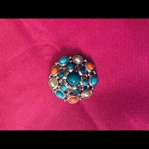 Jewelry - Turquoise,Coral and Pearl Pin ❤️ 2for$10 ❤️